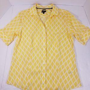 Talbots Yellow/White Button Down Top, 10 Petite